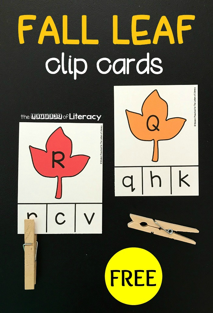 There are so many ways to learn with fall leaves.  These fall leaf letter clip cards are low-prep and encourage fine motor skills.