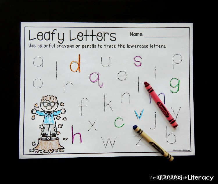 Use these fun and free fall letter tracing printables to work on printing the alphabet in a writing center, as morning work, or just for fun!