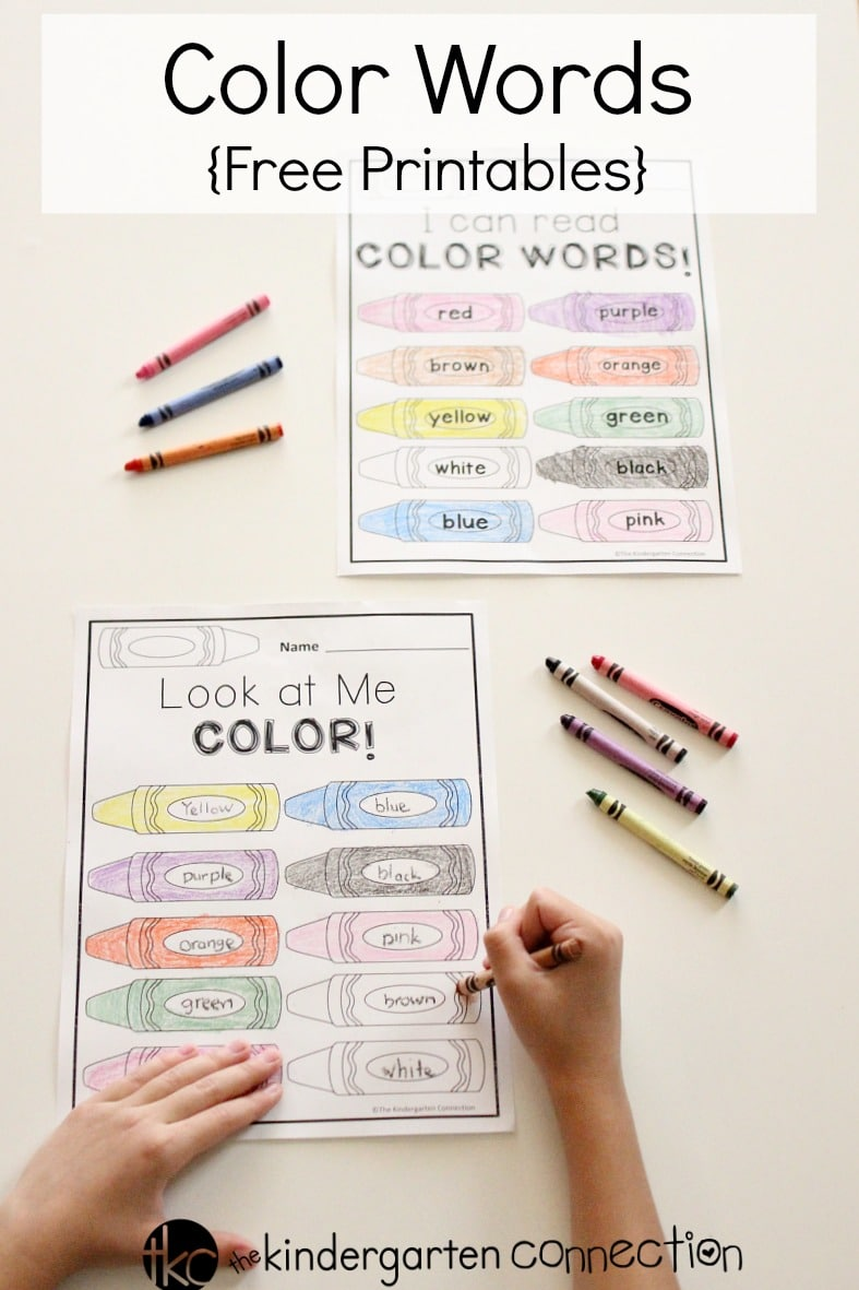photo relating to Color Words Printable referred to as Coloration Text No cost Printable - The Kindergarten Romantic relationship