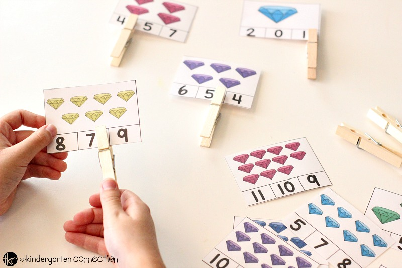 Grab our FREE Colorful Gems Count and Clip Cards! They're perfect for your Kindergarten classroom math centers!