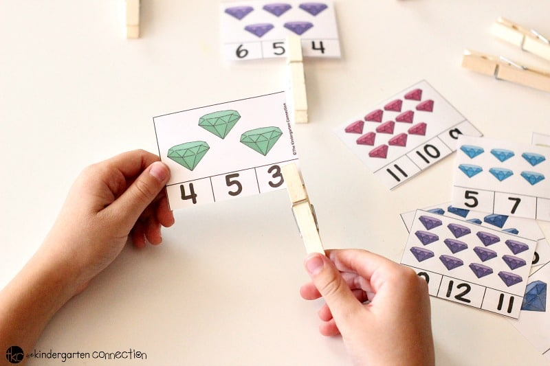 Colorful Gems Count and Clip Cards FREE Printable, use wooden clothespin