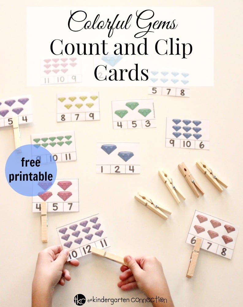 Colorful Gems Count and Clip Cards FREE Printable