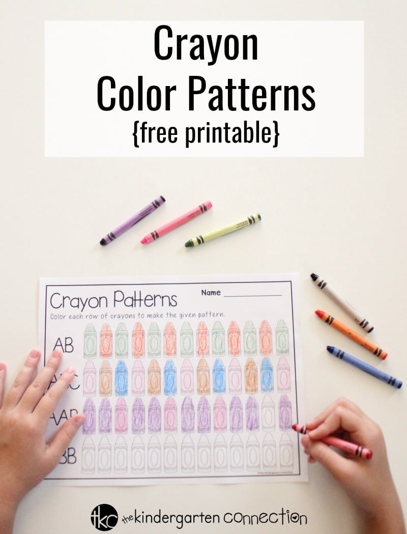 Children will have fun practicing patterns with this FREE Printable Crayon Color Patterns Activity for Kindergarten! Simply print and include your favorite crayons, colored pencils or markers!