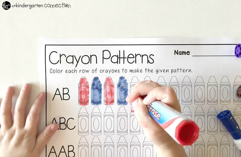 FREE Printable Crayon Color Patterns Activity for Kindergarten!