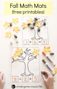 Fall Math Mats free printables for addition and subtraction