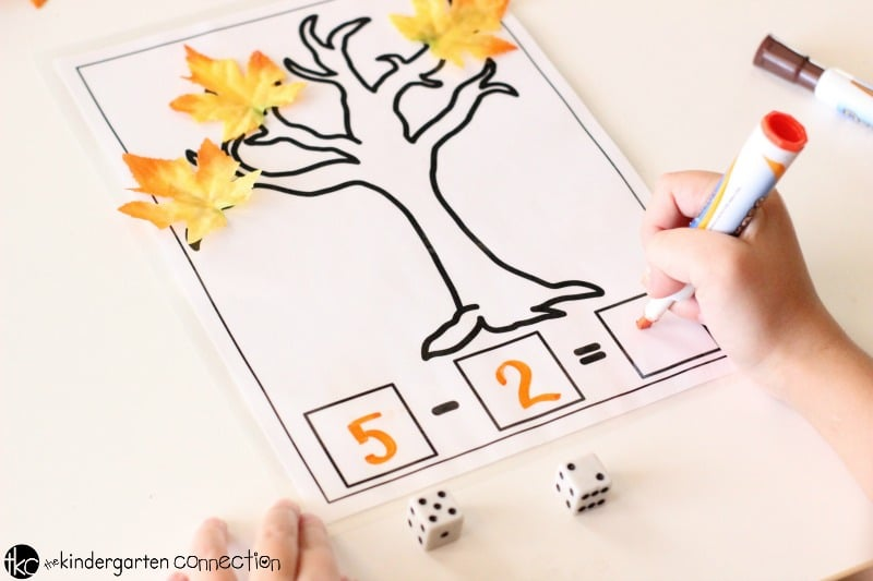 Fall Math Mats free printables for addition and subtraction, solve for subtraction