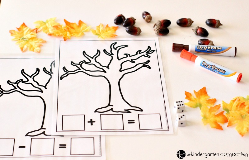 Grab these FREE addition and subtraction Fall Math Mats and place them in your math centers for use in your homeschool or traditional classroom!