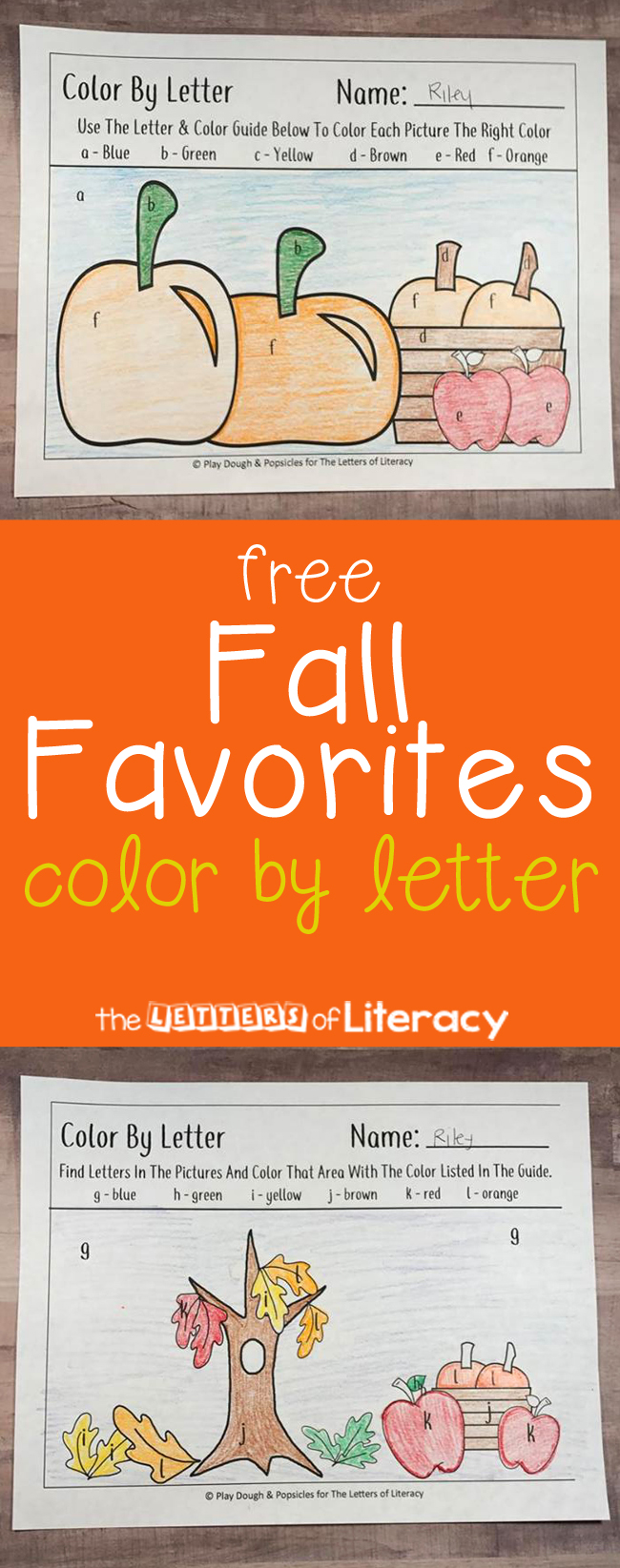 Free Fall Favorites Color By Letter Printables for letter recognition fun