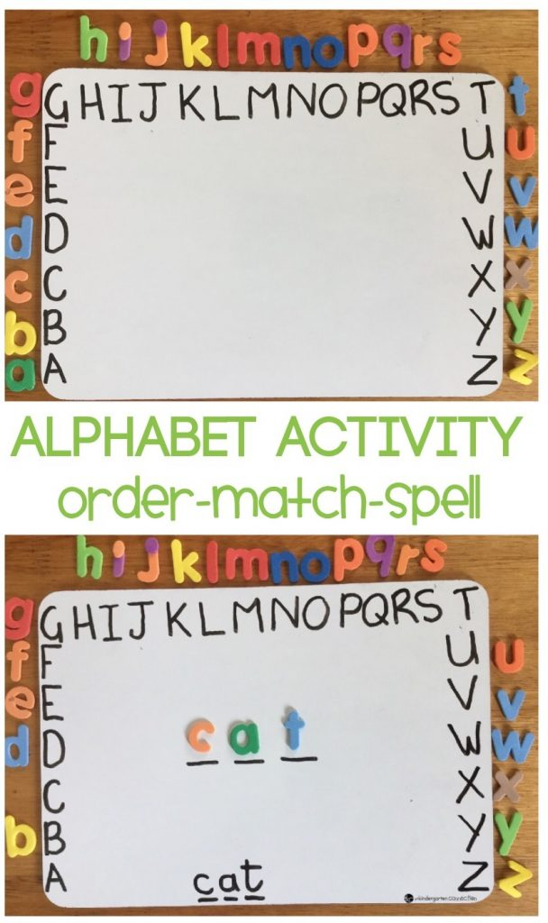 This hands-on alphabet activity works on ordering letters according to alphabetical order, matching upper and lower case letters plus spelling words.