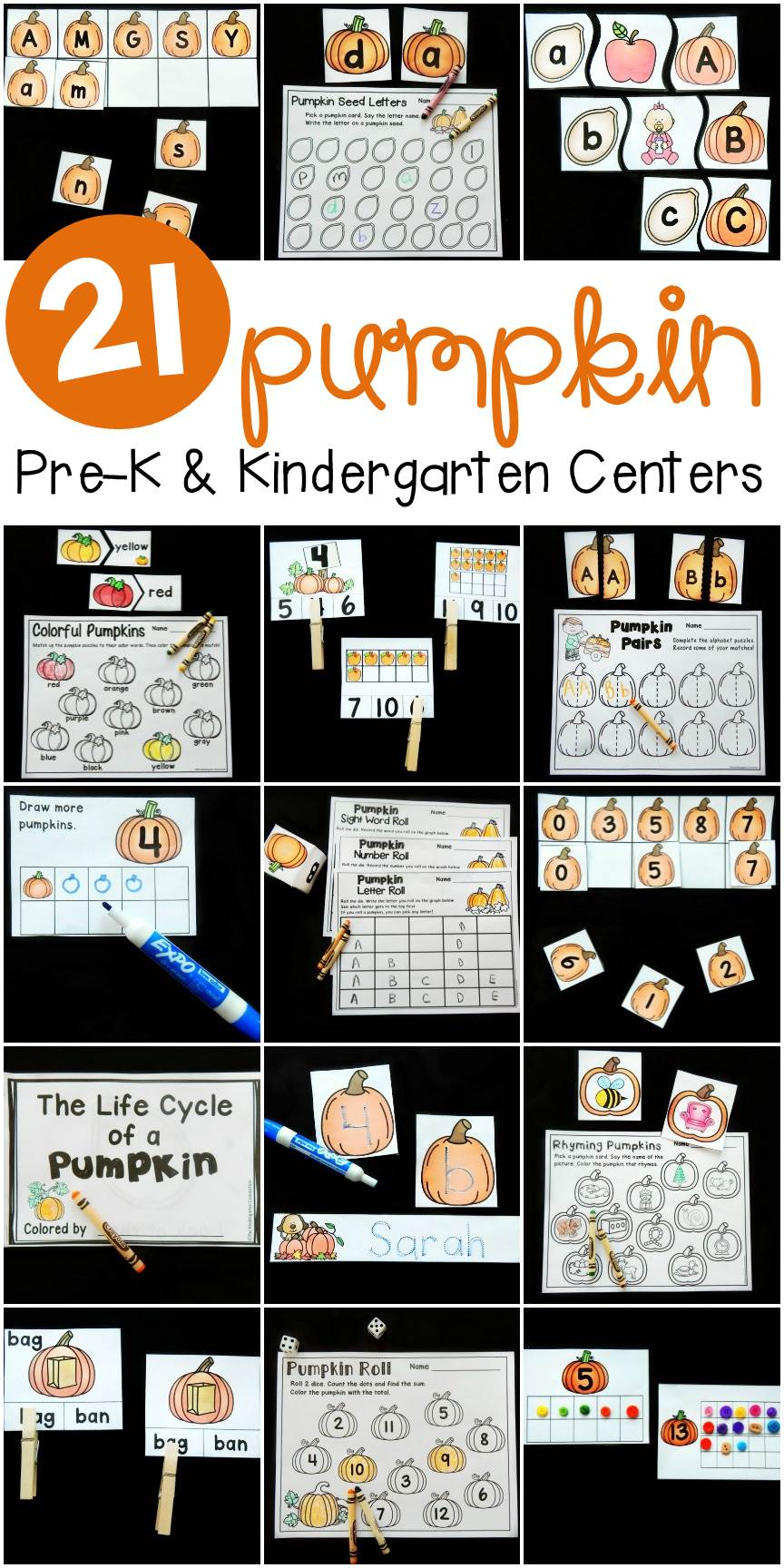 These pumpkin centers and activities for fall are perfect for Pre-K and Kindergarten students working on letters, cvc words, sight words, numbers, and more!