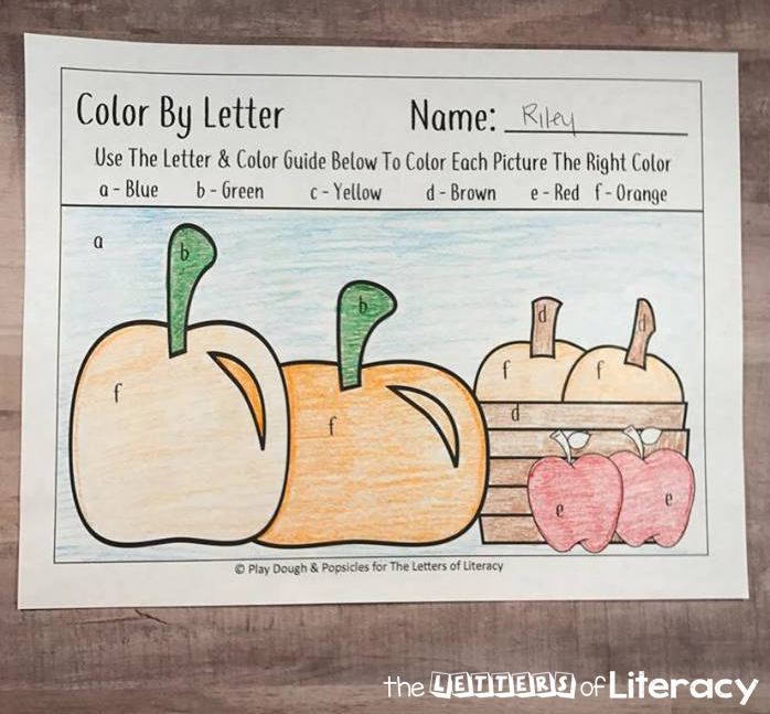 Enjoy practicing the alphabet with this free fall color by letter preschool printable activity. Grow alphabet recognition and celebrate autumn together!