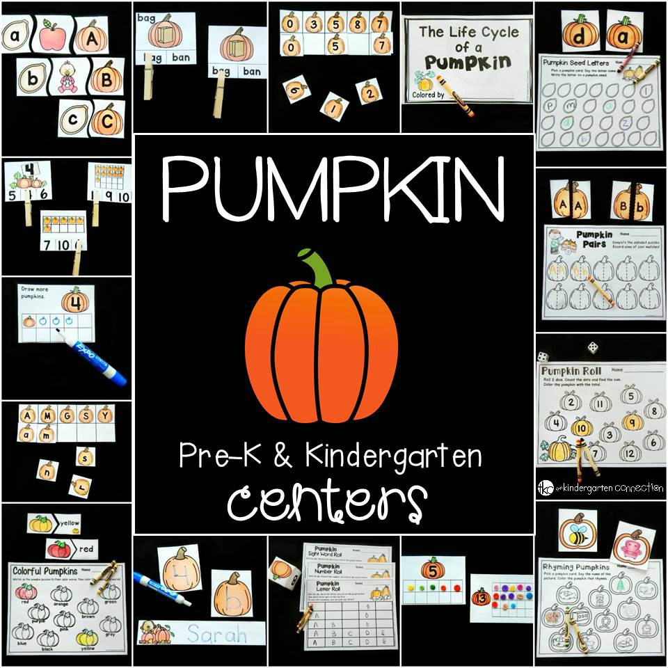 fun pumpkin centers for Pre-k and Kindergarten!