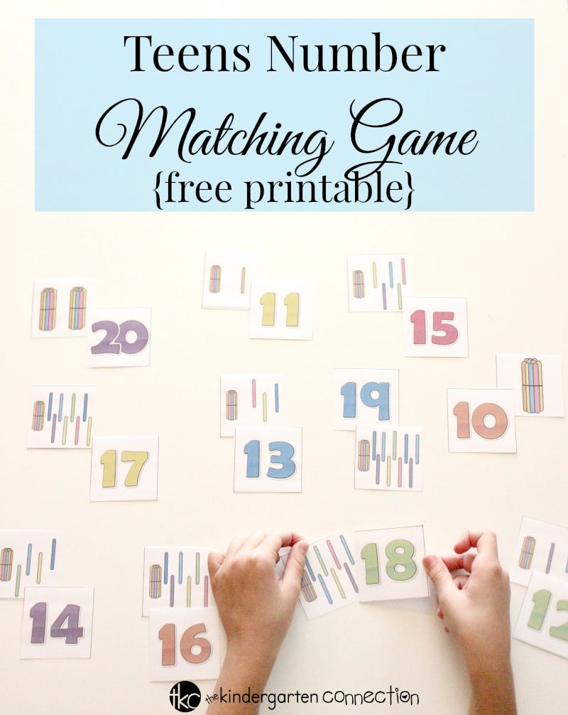 Practice place value with this Teens Number Matching Game! This FREE math activity is perfect for kindergarten.