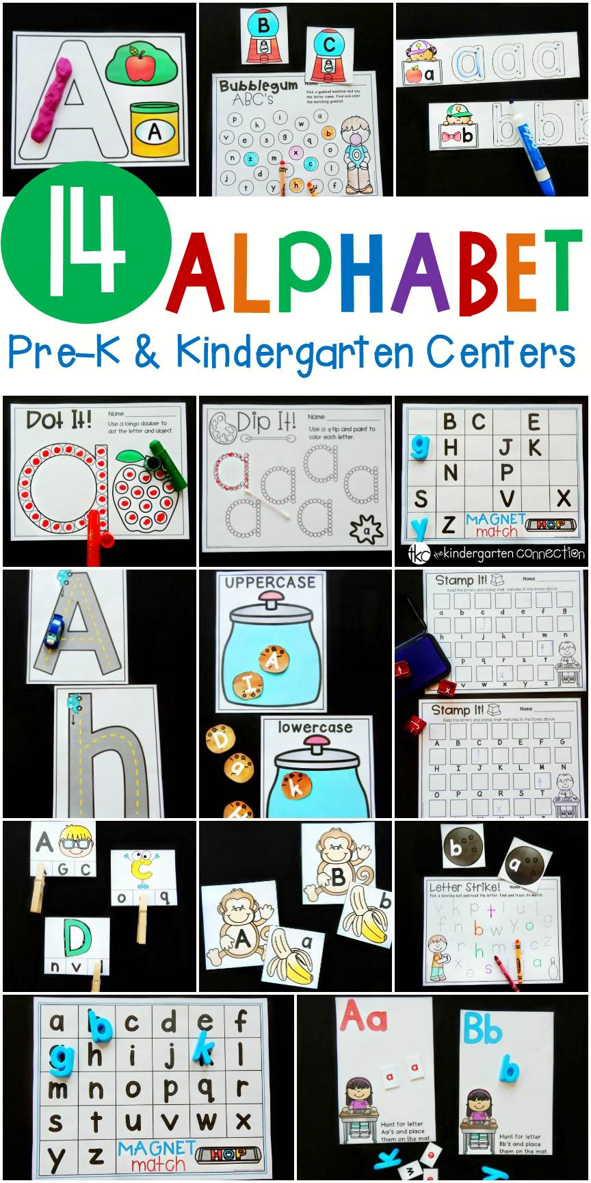 These 14 print and play alphabet activities and centers are perfect for Pre-K and Kindergarten classrooms to explore letters!