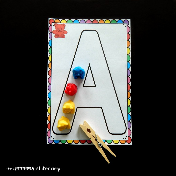 These alphabet mats are so much fun for learning letters and developing fine motor skills, too! Perfect for Preschool and Kindergarten literacy centers!