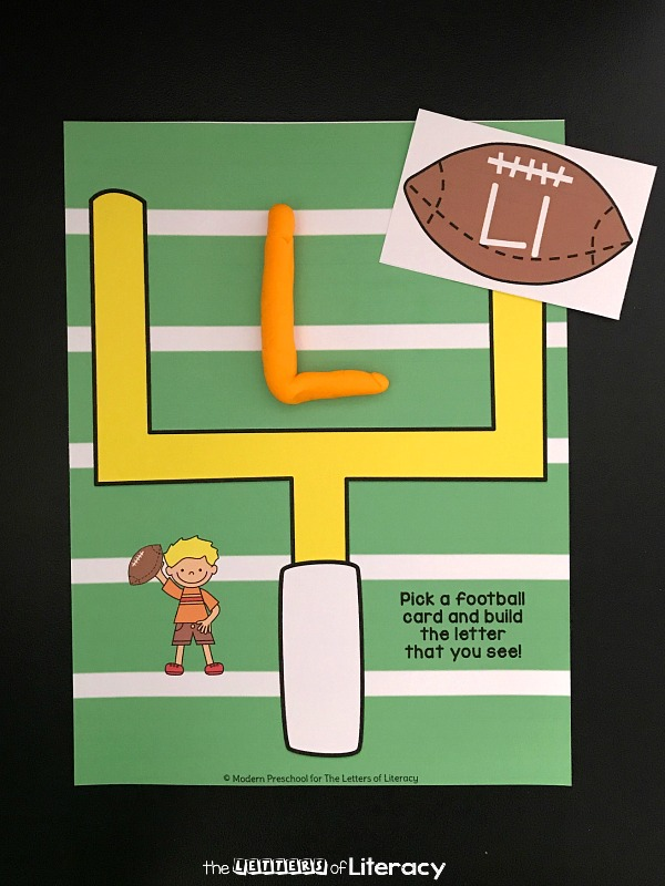 "With football season here, learn the alphabet with this free football playdough letters activity! Make the alphabet with play dough for a ""win"" with kids."