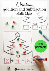 Christmas Addition and Subtraction Math Mats Free Printable