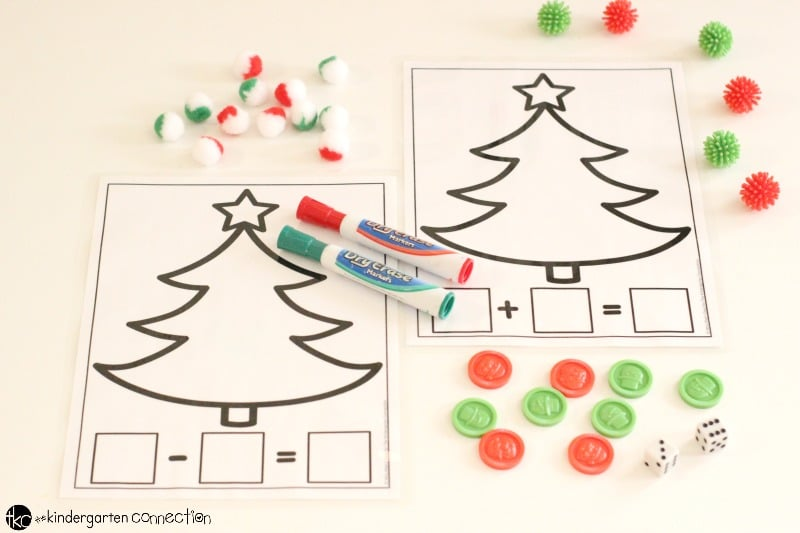 Christmas Addition And Subtraction Printable Math Mats