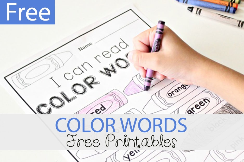 photograph about Color Words Printable titled Colour Text Cost-free Printable - The Kindergarten Marriage
