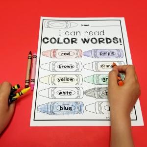 Printable Color Words Activity