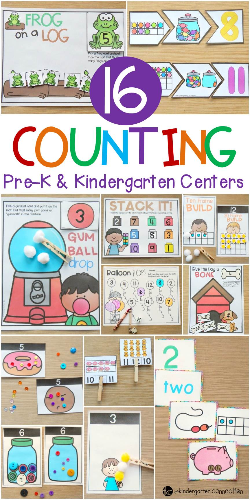 Practice counting from 0-20 with these 16 different counting activities and centers created specifically for Pre-K and Kindergarten students!