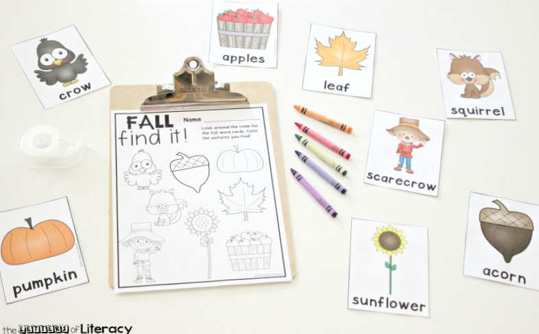 This free printable fall writing center is a fun, simple activity for word work or write the room to get children up and moving while they read!