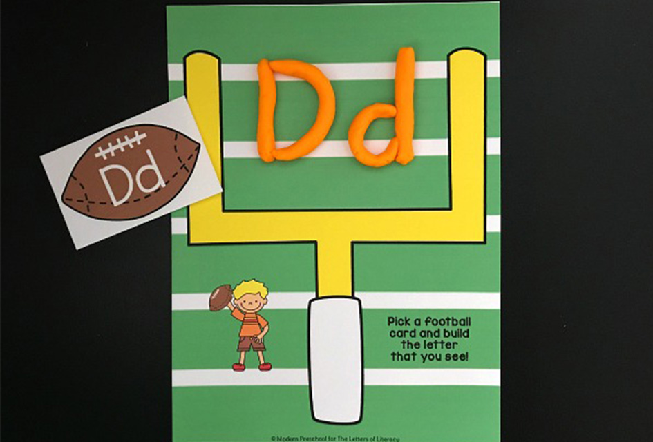 Football Playdough Letters Activity
