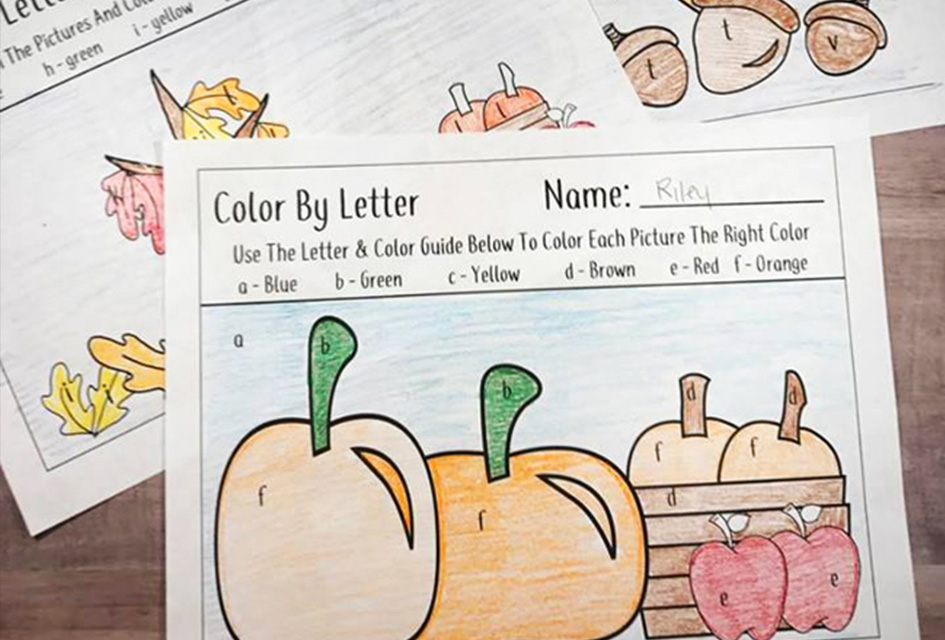 Free Fall Favorite Color By Letter Activity