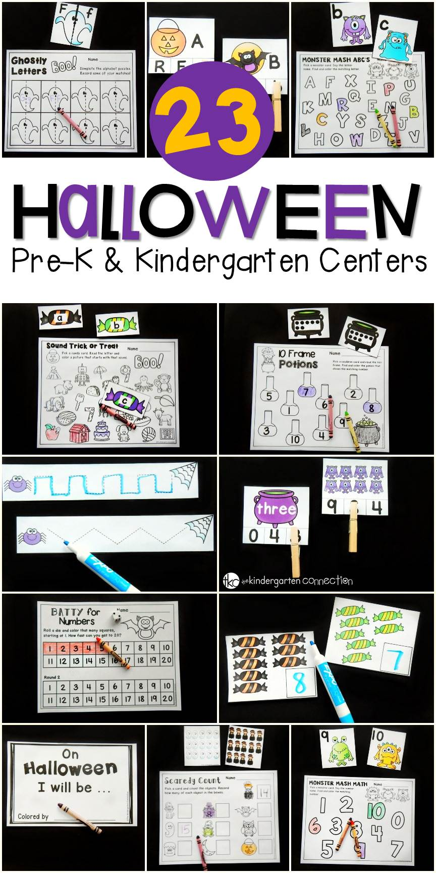 These Halloween Centers are a great way to work on letters, sight words, counting, shapes, addition, and more with Pre-K and Kindergarten students!
