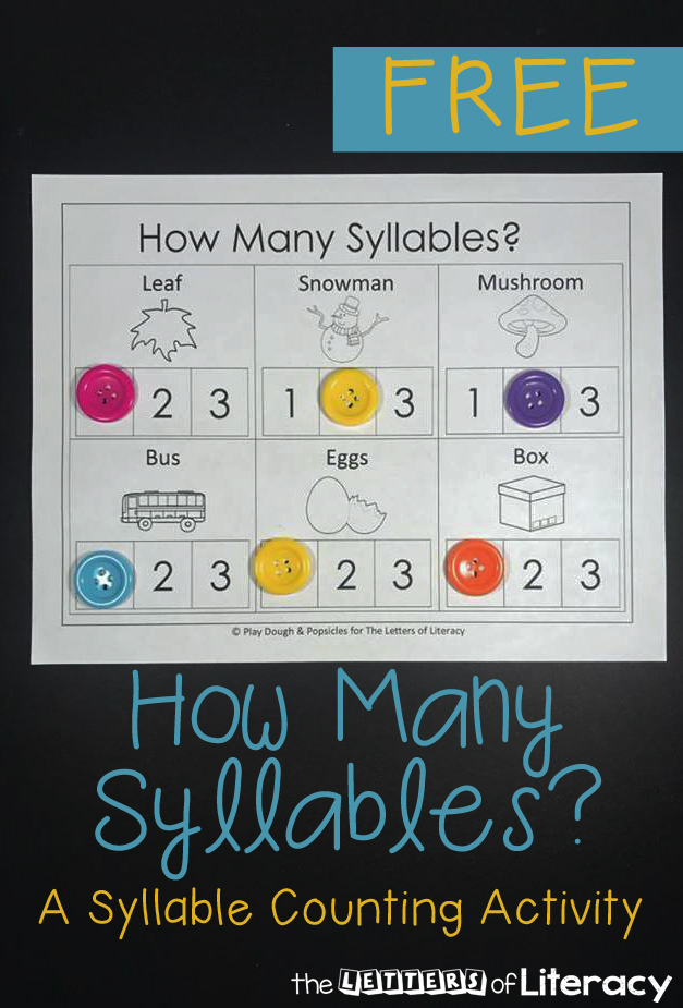These printables are great for learning syllables and word parts with Kindergarten and 1st grade students. Quick prints for syllable counting and review!