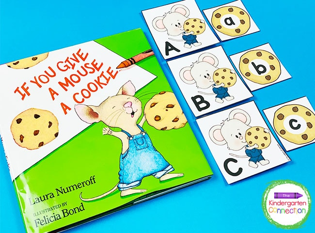 Simply print the free mouse and cookie cards, laminate, and cut for an easy, fun literacy center!