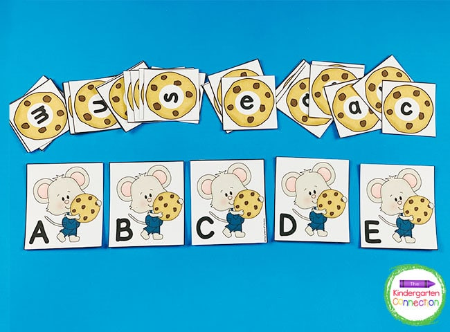 This set includes a capital and lowercase card for all 26 letters of the alphabet