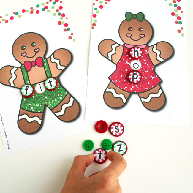 This CVC word building gingerbread printable will keep kids engaged this holiday season. It's such a fun literacy center for Kindergarten or 1st grade!