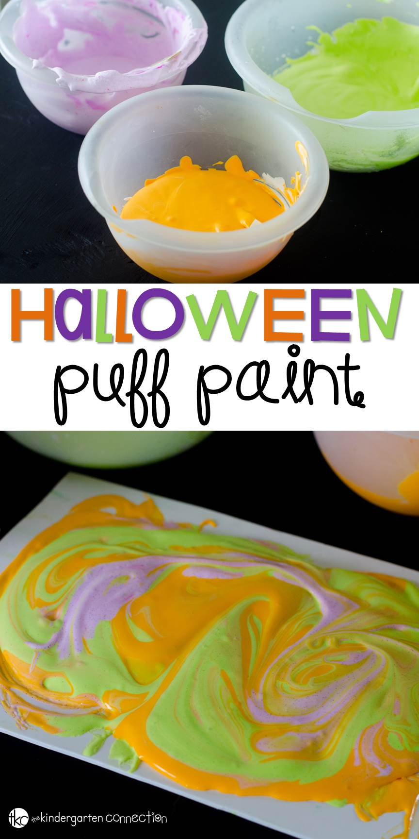 Easy to make and oh so fun to paint with, this Halloween puff paint recipe is the perfect Halloween sensory activity for kids!