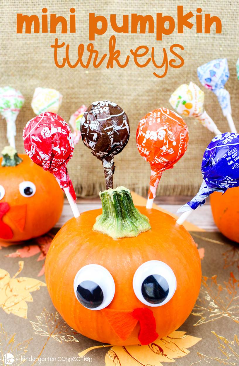 These mini pumpkin turkeys are a fun Thanksgiving craft to make and send home with your students, or to make for a Thanksgiving classroom party!