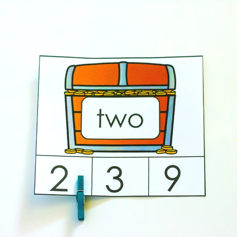 These pirate number words clip cards are a great math center for Kindergarten or early 1st graders to work on identifying number words to 20!