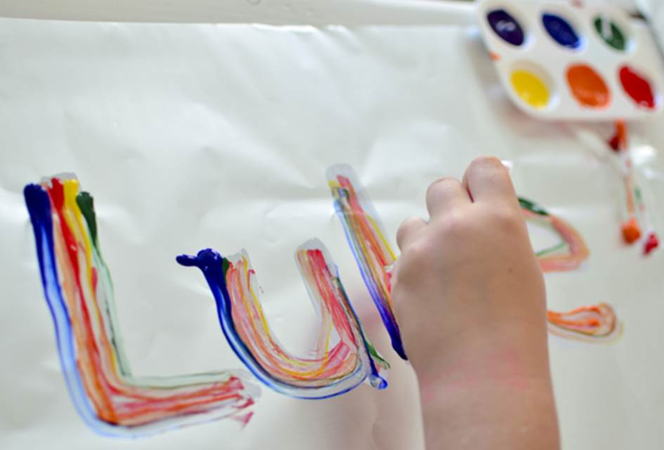 Rainbow Name Tracing Art Activity