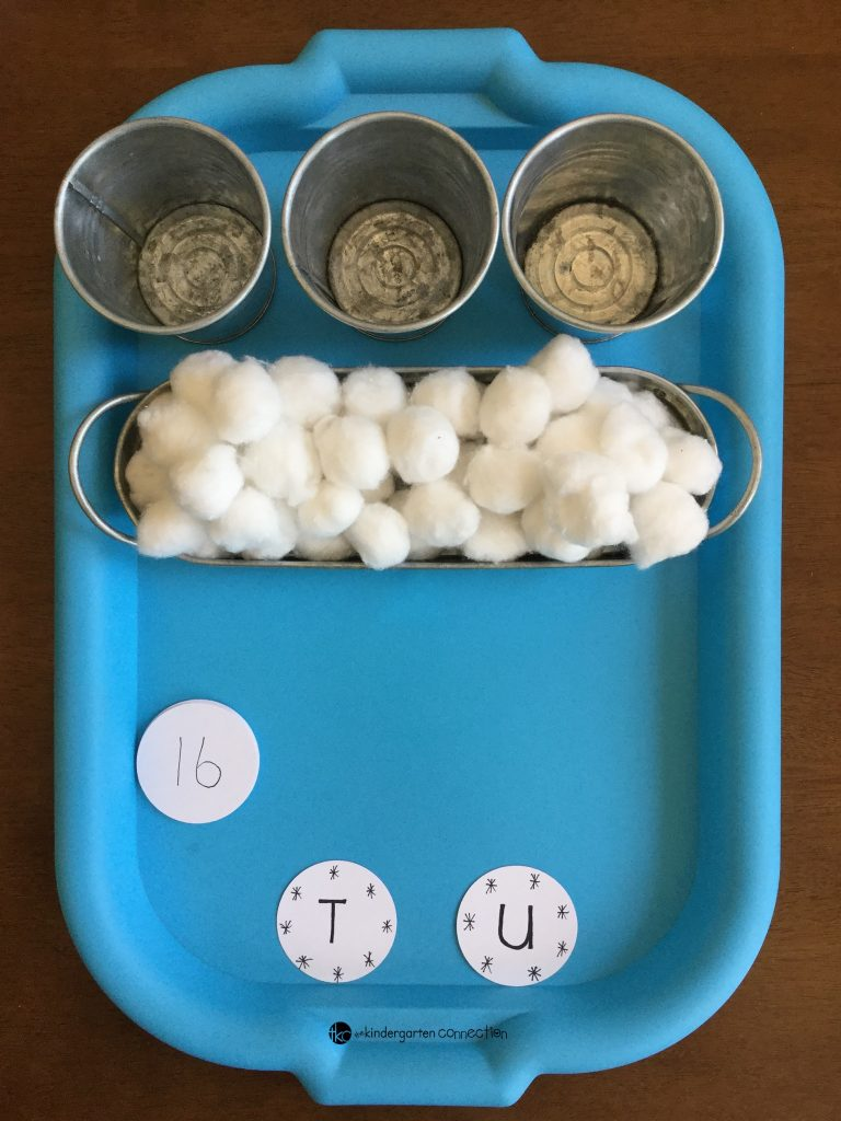 This winter-themed, hands-on place value activity is perfect for math centers in Kindergarten and 1st grade to learn about teen numbers and place value!