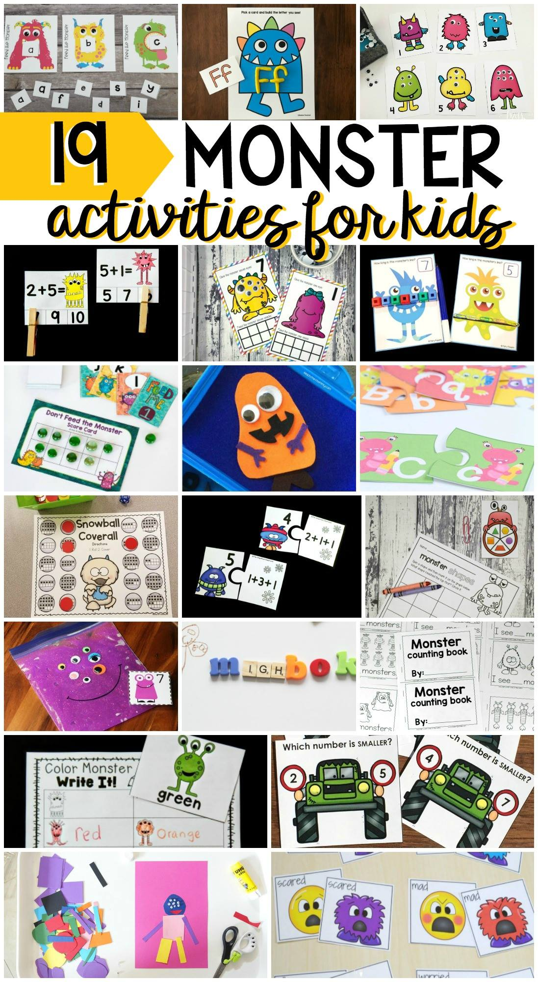 Such fun monster learning activities for kids!