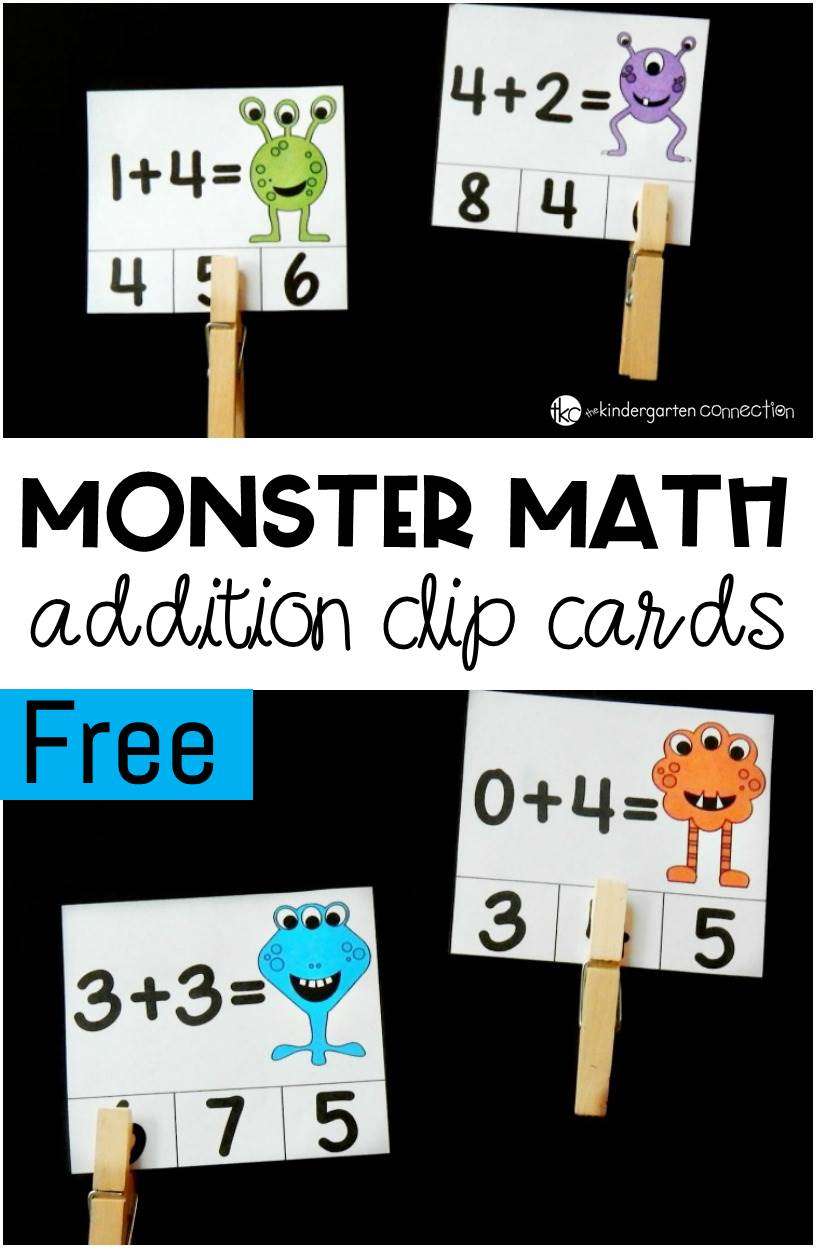 Monster Math Printable Addition Clip Cards
