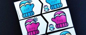 Winter Rhyming CVC Words Activity