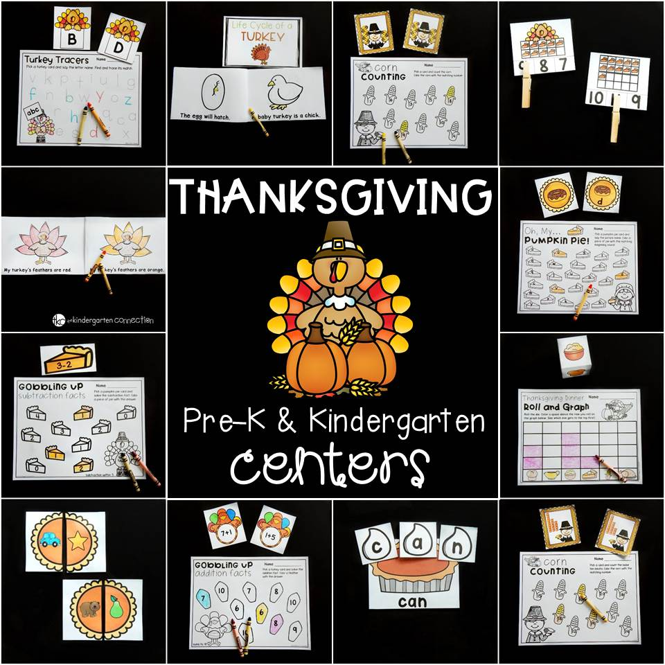 Fun Thanksgiving centers for Pre-K and Kindergarten!