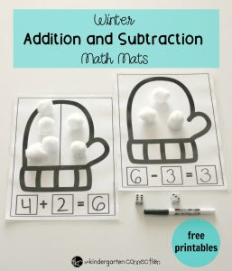 Winter Addition and Subraction Math Mats, FREE Printables