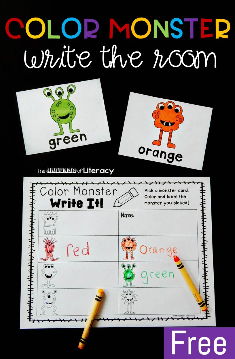 This fun color monster write the room activity makes learning color words even more exciting! Grab the free printable and you have a new writing center!