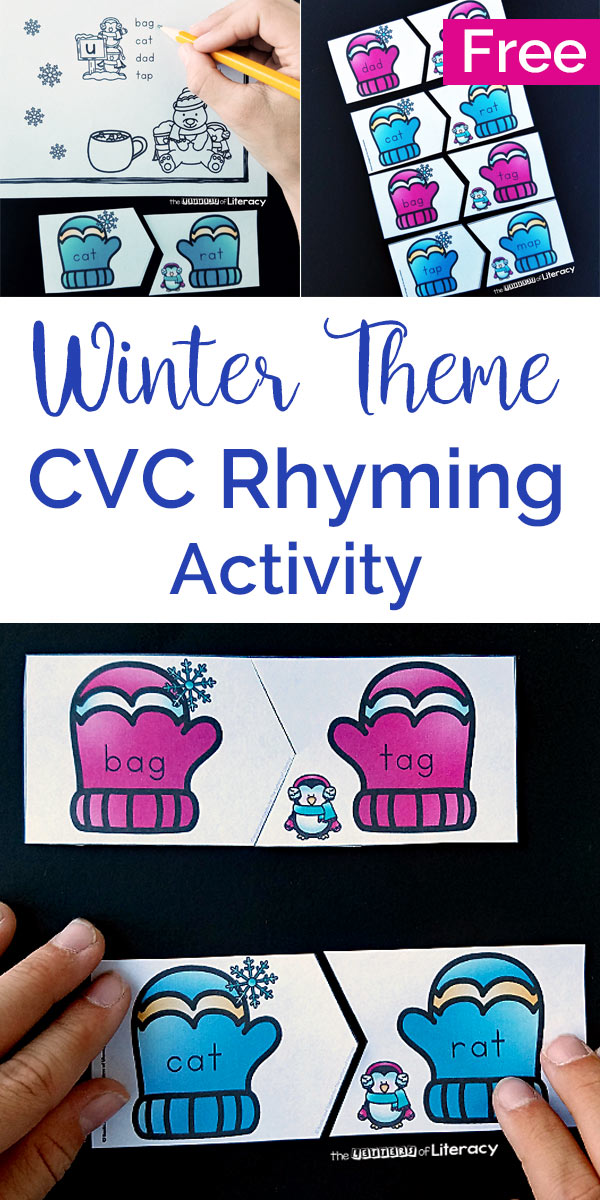 This winter-themed literacy center is perfect for Kindergarten and 1st grade students to work on rhyming and reading CVC words!