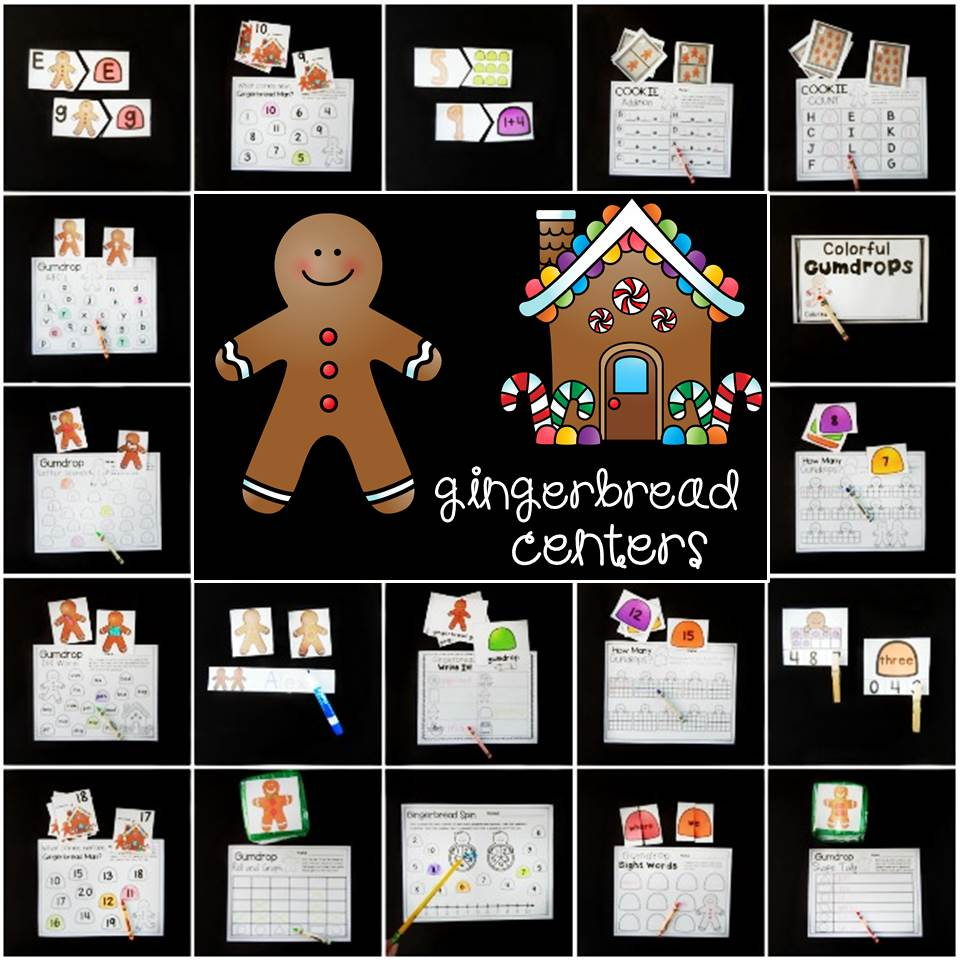 fun gingerbread centers for Pre-K and Kindergarten!