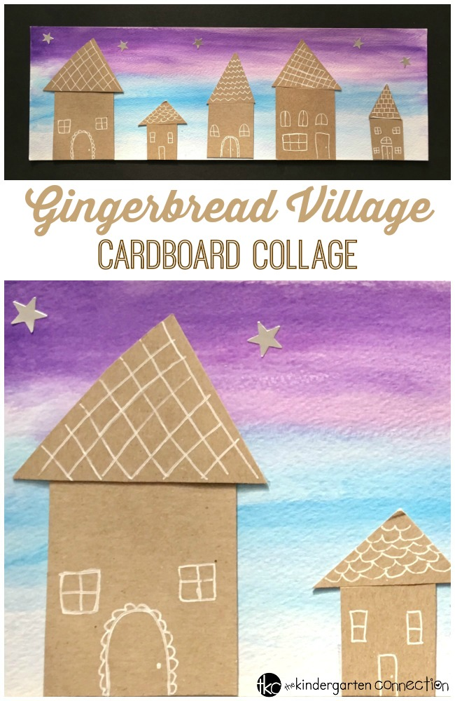 This gingerbread village cardboard collage gingerbread craft is a fun and festive way to welcome the holiday season in your home or classroom!