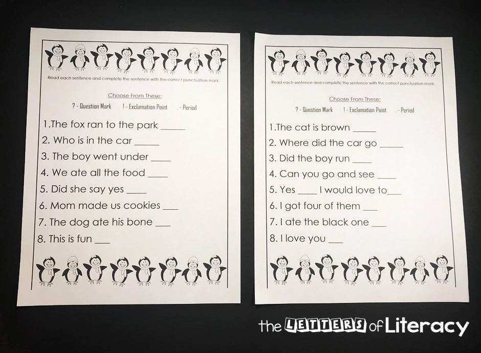 Penguin Punctuation Activity