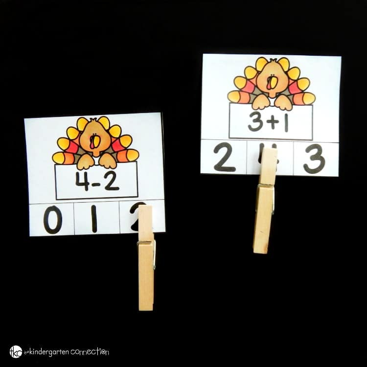 These free turkey math clip cards are so fun for Kindergarten and early 1st grade students who are working on beginning addition and subtraction facts! It is the perfect activity to add to your November centers!
