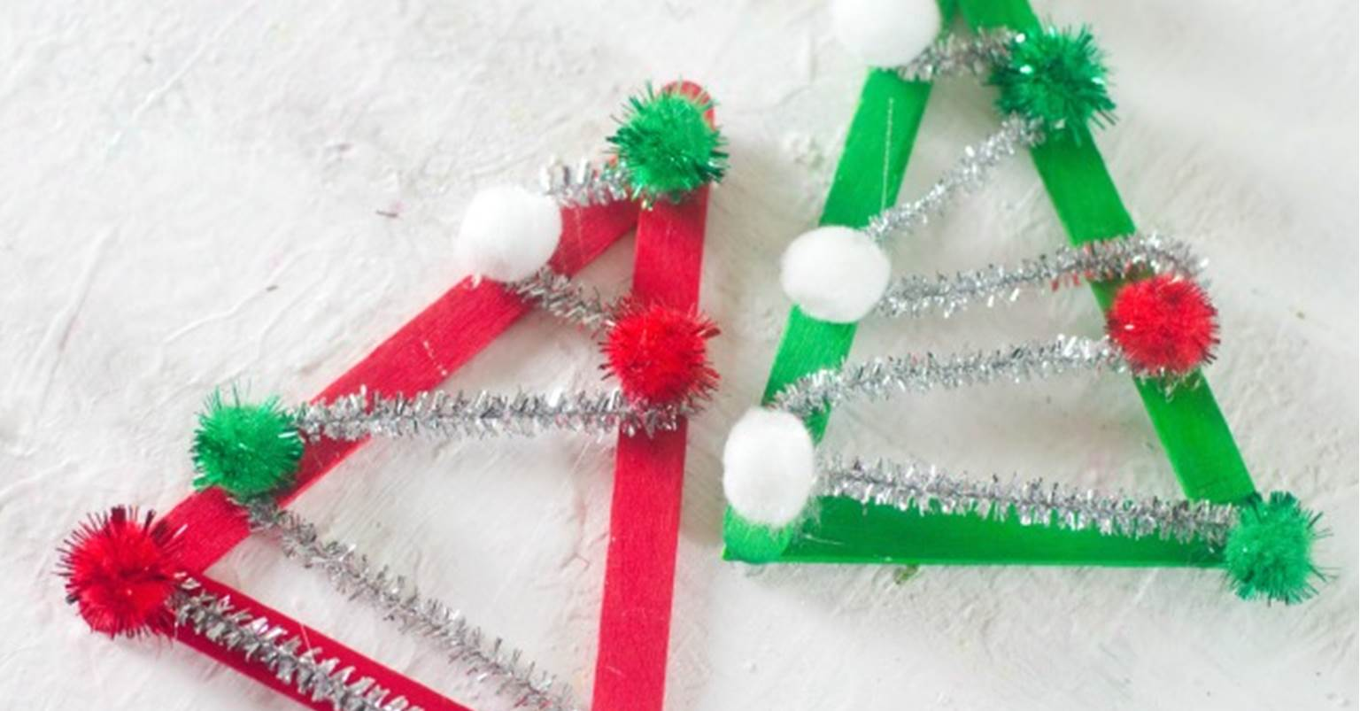 Popsicle Stick Christmas Tree Ornaments.Christmas Tree Popsicle Stick Ornament